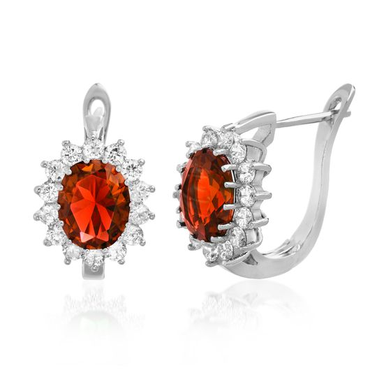 Imagen de Silver-Tone Brass Cubic Zirconia Border Oval Center Ruby Red Lever Back Earring