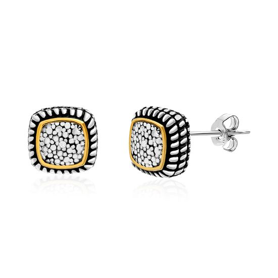 Imagen de Diamond Accent Cushion Shaped Rope Textured Stud Earrings in Rhodium and Gold over Brass