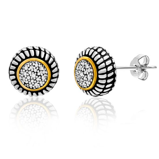 Imagen de Diamond Accent Round Shaped Rope Textured Stud Earrings in Rhodium and Gold over Brass