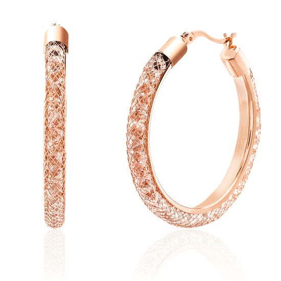 Picture of Rose-Tone Brass Traveling Crystals Hoop Earring