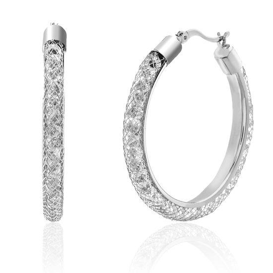 Imagen de Silver-Tone Brass Traveling Crystals Hoop Earring