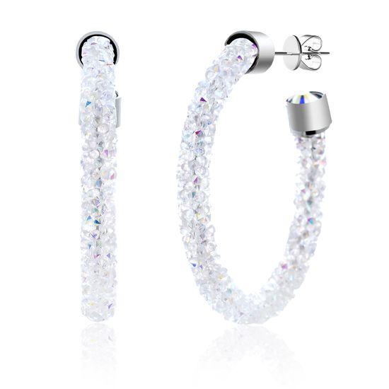 Imagen de Silver-Tone Brass Wrapped Aurore Boreale Crystal C-Hoop Post Earring
