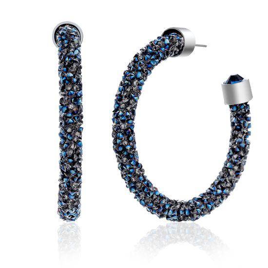 Imagen de Silver-Tone Brass Wrapped Blue Crystal C-Hoop Post Earring