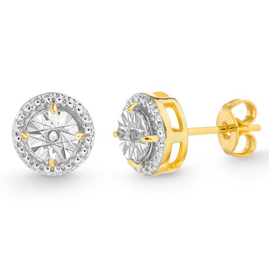 Imagen de Diamond Accent Round Stud Earrings in Yellow Gold over Brass