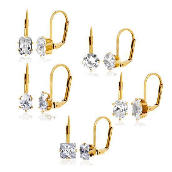 Imagen de Silver-Tone Brass 5 piece Cubic Zirconia Lever back Earring