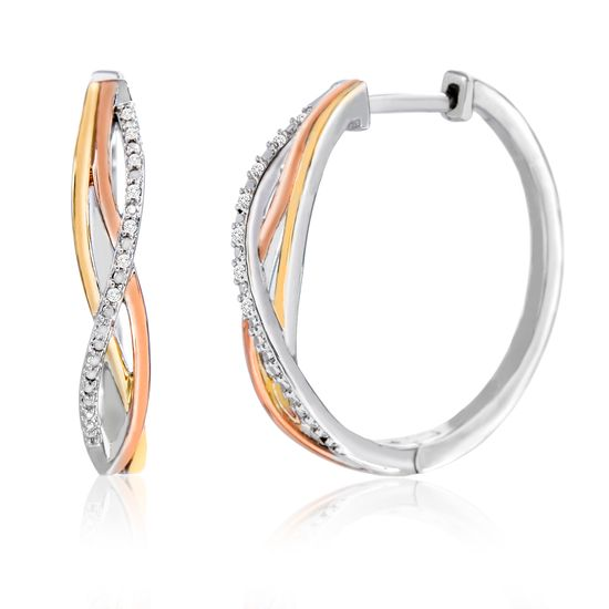 Imagen de Tri-Tone Brass Diamond Accent Crossover Design Hoop Earring