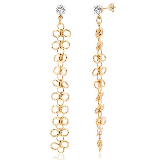 Imagen de Gold Plated Cubic Zirconia Flower Design Drop Post Earring