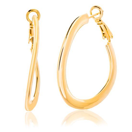 Imagen de Gold Plated Wavy Hoop Earring