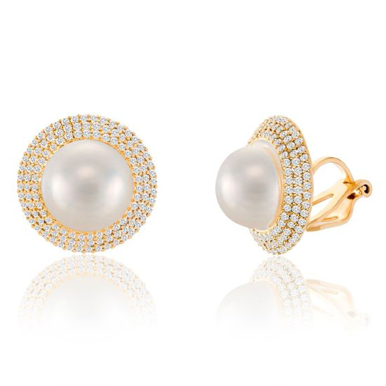 Picture of Gold Plated Brass Freshwater Pearl & Cubic Zirconia Border Post Earring