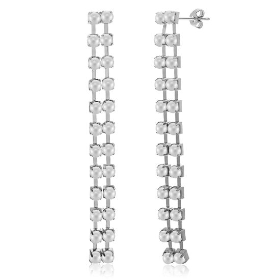 Imagen de Rhodium Plated Freshwater Pearl Drop Post Earring