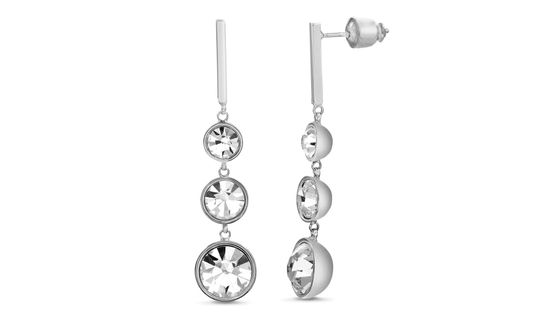 Picture of Rhodium Plated Cubic Zirconia Bezel Bar Drop Post Earring