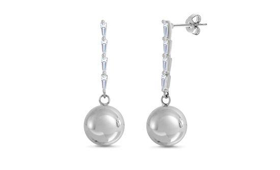 Imagen de Rhodium Plated Brass Baguette Glass Bar Ball Drop Post Earring