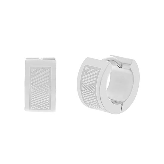 Imagen de Silver-Tone Stainless Steel Huggie Earrings