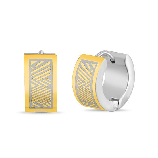 Imagen de Two-Tone Stainless Steel Huggie Earrings
