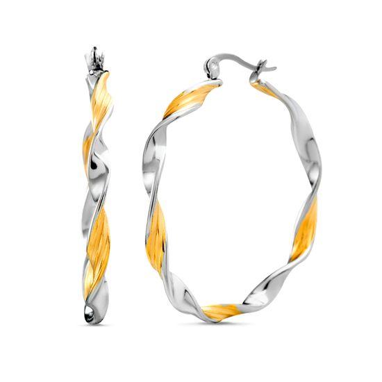 Imagen de Two Tone Stainless Steel Twist Polished Hinge Hoop