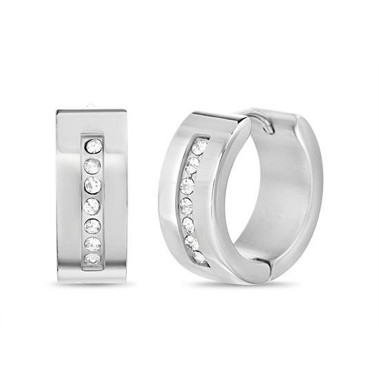 Imagen de Silver-Tone Stainless Steel Crystal Huggie Earring