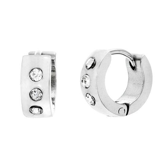Imagen de Silver-Tone Stainless Steel Cubic Zirconia 4x10 Huggie Earrings