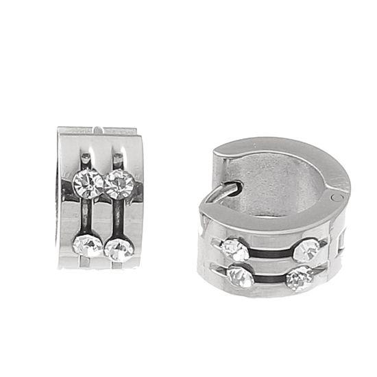 Imagen de Silver-Tone Stainless Steel Double Row Crystal Polished Huggie Earring