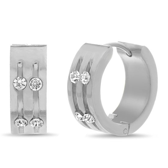 Picture of Silver-Tone Stainless Steel Two Row Crystal Huggie Earring