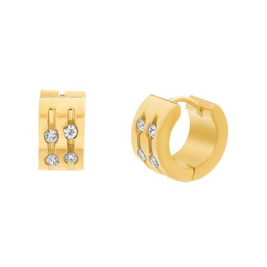 Imagen de Gold-Tone Stainless Steel 7X14mm Cubic Zirconia Huggie Earrings