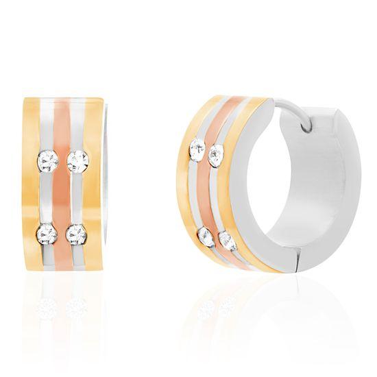 Imagen de Tri-Tone Stainless Steel High Polished Cubic Zirconia Earrings