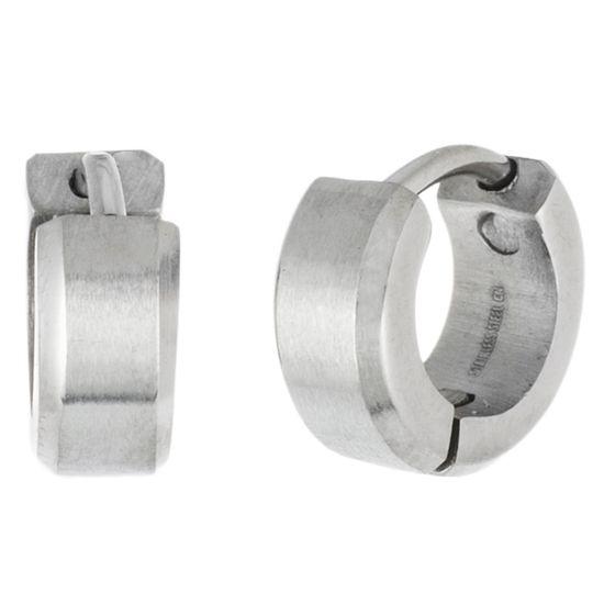 Imagen de Silver-Tone Stainless Steel 4X10mm Huggie Earrings