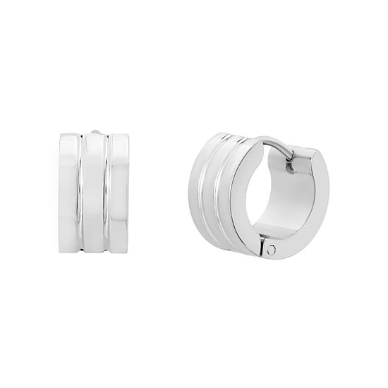 Imagen de Silver-Tone Stainless Steel 14mm Ribbed Huggie Earrings