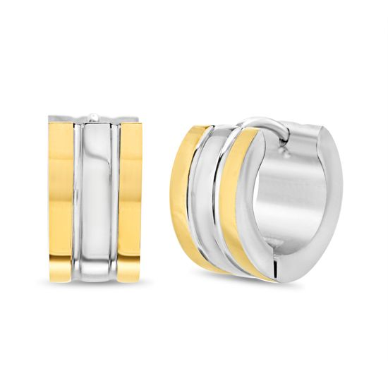 Imagen de Two-Tone Stainless Steel IP 7x14mm Earrings