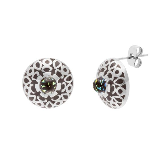 Imagen de Silver-Tone Stainless Steel Round Crystal Black Resign Post Earring