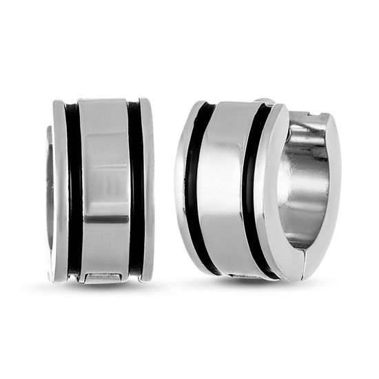 Picture of Silver-Tone Stainless Steel 2 Black Horizontal Stripes Design Huggie Earrings