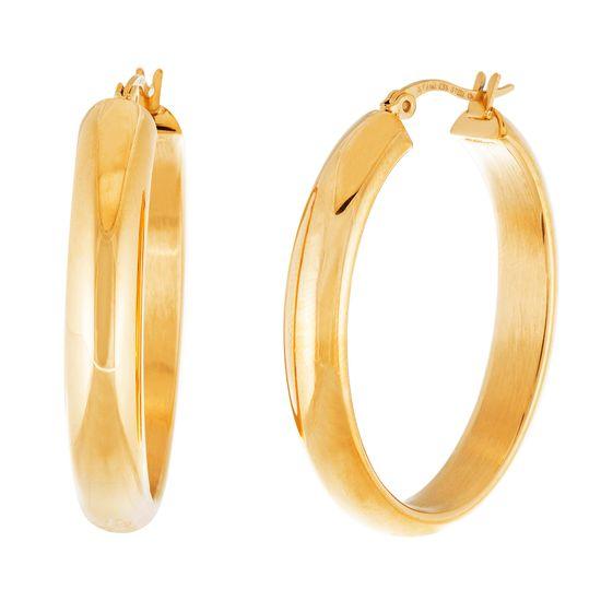 Imagen de Gold-Tone Stainless Steel Gold 25mm Polished Oval Hoop Earrings