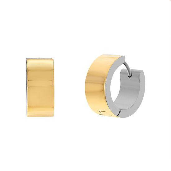 Imagen de Two-Tone Stainless Steel Polished Huggie Earring