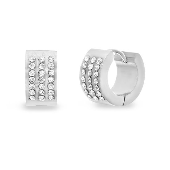 Imagen de Silver-Tone Stainless Steel Cubic Zirconia Huggie Hoop Earrings