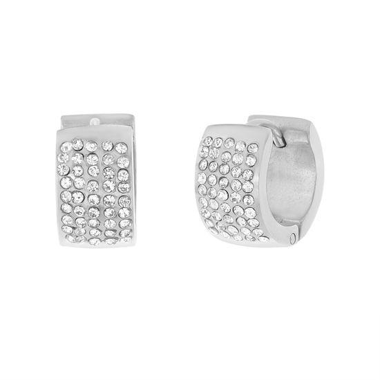 Imagen de Silver-Tone Stainless Steel Cubic Zirconia Huggie Earrings