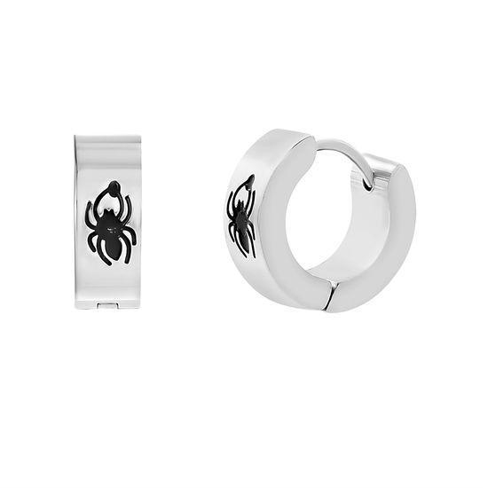 Imagen de Silver-Tone Stainless Steel Spider Huggie Earrings