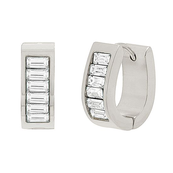 Imagen de Silver-Tone Stainless Steel Cubic Zirconia Baguette Oval Huggie Earrings