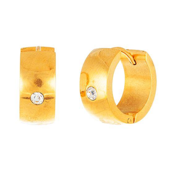 Imagen de Gold Tone Stainless Steel Polished CZ Huggie Hinge Earring