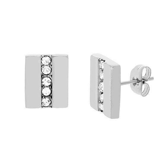 Imagen de Silver-Tone Stainless Steel Rectangle Cubic Zirconia Stud Earrings