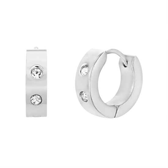 Picture of Silver-Tone Stainless Steel Cubic Zirconia 14mm IP Huggie Earrings