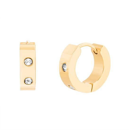 Imagen de Gold-Tone Stainless Steel Cubic Zirconia 14mm IP Huggie Earrings