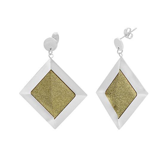 Imagen de Silver-Tone Stainless Steel Diamond Shape Dangle  Green Glitter Post Earring