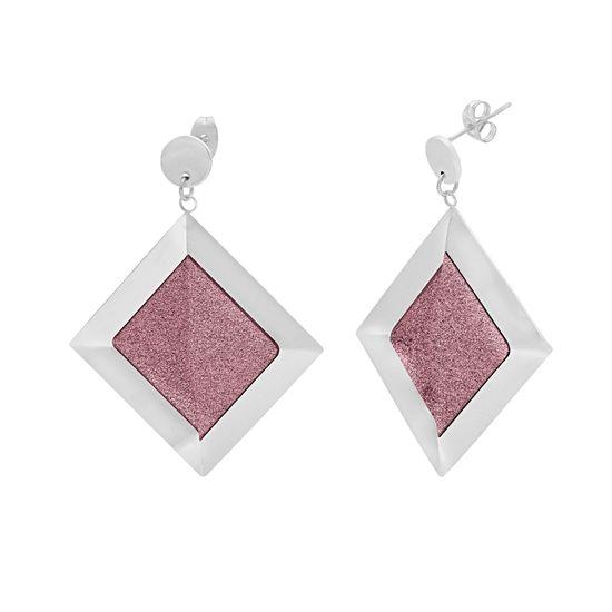 Imagen de Silver-Tone Stainless Steel Diamond Shape Dangle  Purple Glitter Post Earring