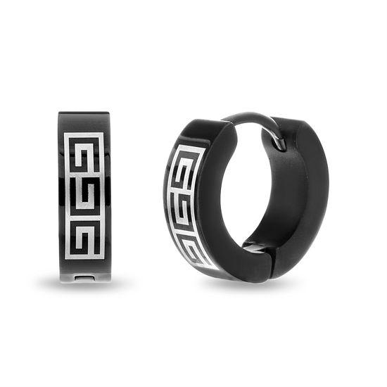 Imagen de Black-Tone Stainless Steel IP Greek-Key 4mm Huggie Earrings