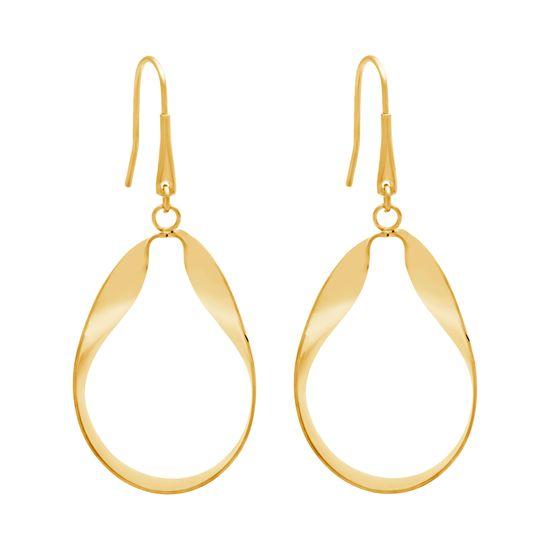 Imagen de Gold-Tone Stainless Steel Dangling Oval Twist Earrings