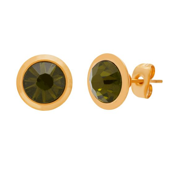 Imagen de Gold-Tone Stainless Steel Olive Crystal Circle Post Earring