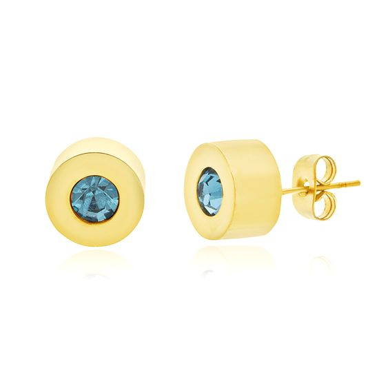 Imagen de Gold-Tone Stainless Steel Turquoise Crystal Round Post Earring