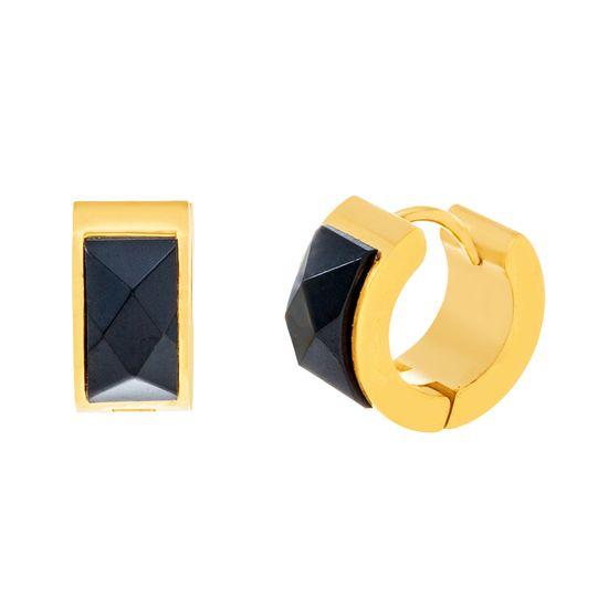 Imagen de Gold-Tone Stainless Steel Black Enamel Huggie Earring