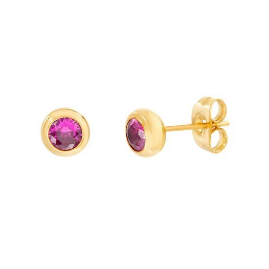 Imagen de Gold-Tone Stainless Steel 4mm Ruby Red Cubic Zirconia Post Earrings