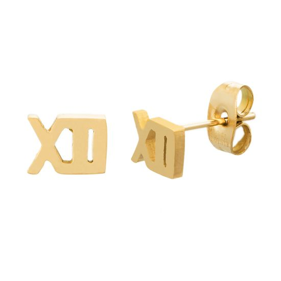 Imagen de Gold-Tone Stainless Steel Roman Numeral Post Earring