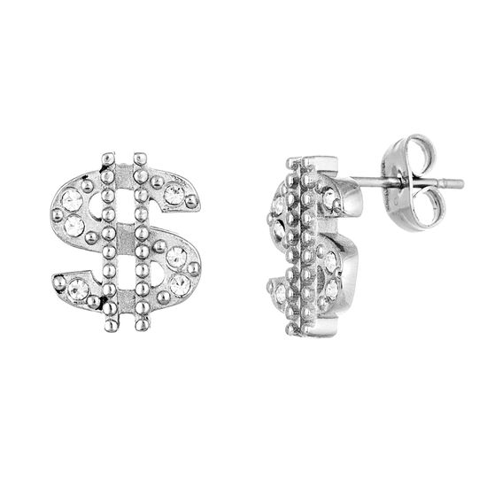 Imagen de Silver-Tone Stainless Steel Crystal Dollar Sing Post Earring
